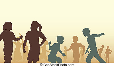 Playtime - Editable vector illustration of children in a...