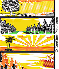 Popart landscape banners - Set of editable vector banner...