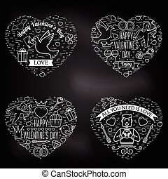 Happy Valentines Day greetings card, labels, badges, or tattoo.