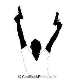 man with two gun vector illustration on white background