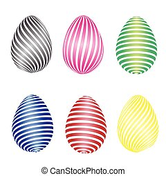 Multi-colored with different patterns Easter eggs 3D