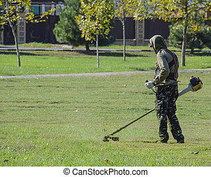 Worker mowing the lawn. Mowing grass trimmer