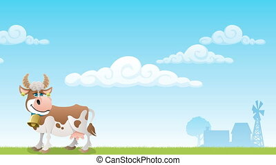 Dairy Farm 3 - Cartoon cow grazing on meadow.