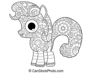 Little horse pony coloring vector for adults - Little horse...