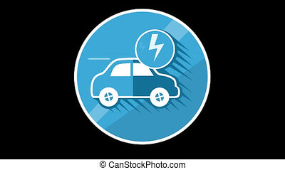 Electric Car Flat Icon With Alpha Channel - We offer you a...