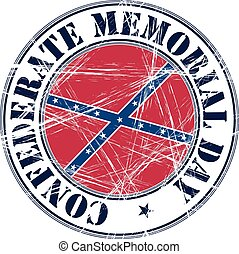 Confederate Day rubber stamp - Confederate Memorial Day...