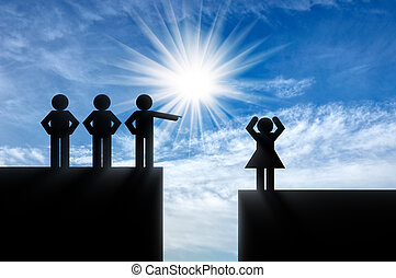 Concept of gender inequality - Icons men point finger at an...