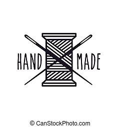 hand made design - emblem of hand made concept with Thread...