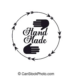 hand made design - emblem of hand made concept with hand and...