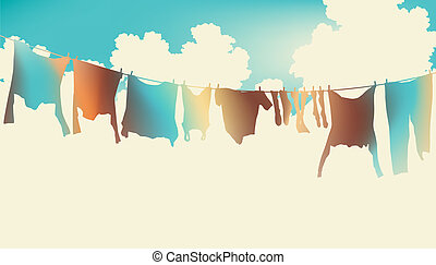 Rainbow clothes - Editable vector illustration of colorful...