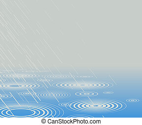 Rainpool - Editable vector illustration of rain falling into...