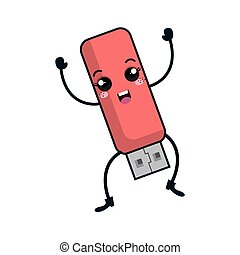 usb memory kawaii character vector illustration design