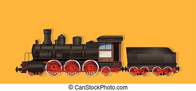 Vintage steam locomotive, vector illustration.
