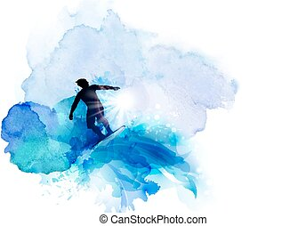 Abstract image of movement, speed and wave. Black silhouette...