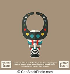 Tribal mask symbol - Flat style icon with tribal mask symbol