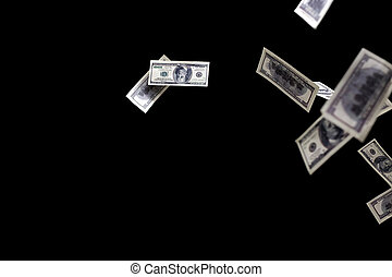 hundred dollars banknotes fly on black background. money...