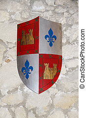 coat of arms of the last name borreda on a wall of stone as...
