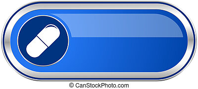 Drugs long blue web and mobile apps banner isolated on white...