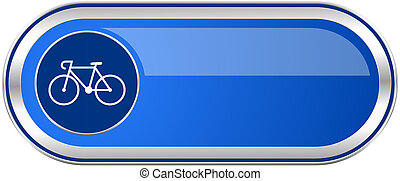 Bicycle long blue web and mobile apps banner isolated on...