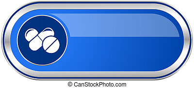 Medicine long blue web and mobile apps banner isolated on...