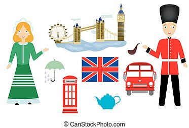 the UK set - set in the style of a flat design on the theme...