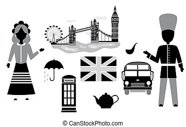the UK set black - set in the style of a flat design on the...