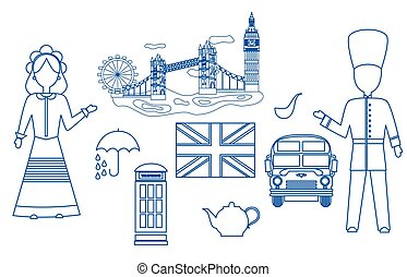 the UK set blue - set in the style of a flat design on the...