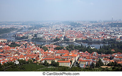 Prague City View from Petrin lookout tower - The view from...