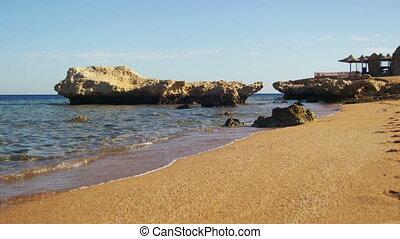 Beach in Egypt. Resort Red Sea Coast. Daytime panoramic view...