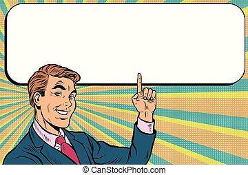Businessman points up to copy space background