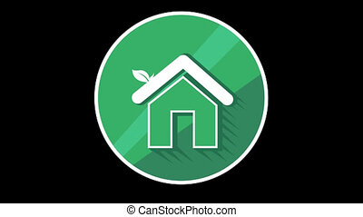 Green House Flat Icon With Alpha Channel - We offer you a...