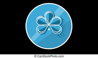 Blue Flower Flat Icon With Alpha Channel