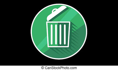 Trash Bin Flat Icon With Alpha Channel - We offer you a...