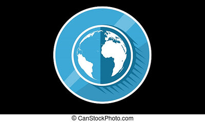 Blue Planet Flat Icon With Alpha Channel - We offer you a...
