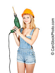 Sexy girl with drill over white background