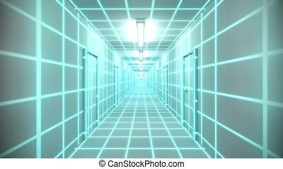 Endless white corridor doors neon tron 80s arcade glow loop...