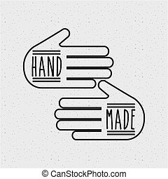 hand made design - hand made emblem on hands shape over...