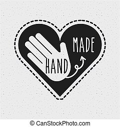 hand made design - hand made emblem on heart shape icon over...