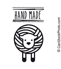 hand made design - sheep and needles icon over white...