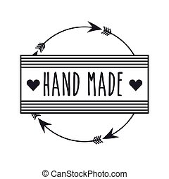 hand made design - emblem of hand made concept with heart...