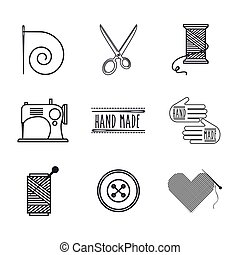 hand made design - tailor shop icons around over white...