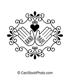 hand made design - vintage emblem with hands and heart icon...