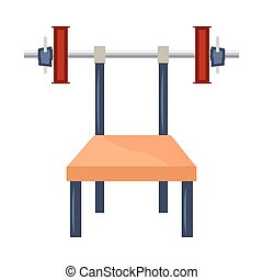Cartoon bench press with weights - Cartoon bench press...
