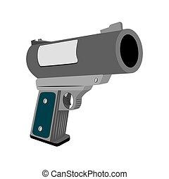 Realistic flare gun - Realistic flare pistol, on a white...