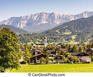 Village of Garmisch in the Alps of Bavaria - Village of...