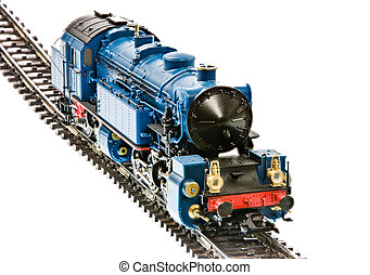 Toy train with a steam engine locomotive