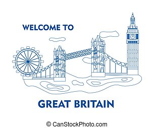 welcome to great britain blue - set in the style of a flat...