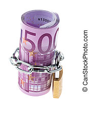 Euro bank note closed with a chain