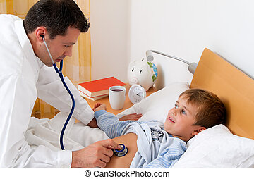 Physician home visit Examines sick child - A physician house...