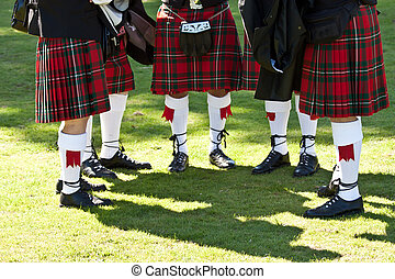 Scottish kilts - Detail of original Scottish kilts, during...